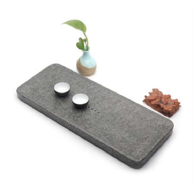 Simple Black Stone Tea Tray